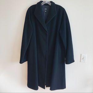 Eileen Fisher Black Wool Long Swing Coat Medium